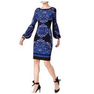 INC Women's Blouson-Sleeve Sheath Blue Dress - XL